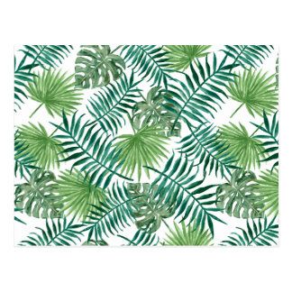 Carte Postale L'aquarelle part du motif tropical de feuille de