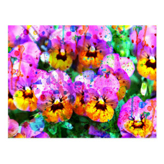 Carte Postale L'aquarelle turquoise rose colorée éclabousse la