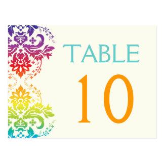 Carte Postale L'arc-en-ciel colore le nombre de table de mariage