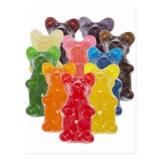Carte Postale l'arc-en-ciel colore l'ours gommeux d'amant de