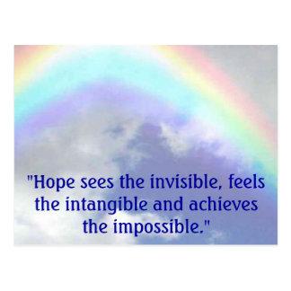 """Carte Postale l'arc-en-ciel, """"espoir voit l'invisible, se sent"""