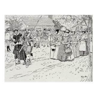 Carte Postale L'arrivée des jeunes femmes chez Jamestown