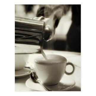 Carte Postale L'art d'à café frais/de s'ajouter cuits à la