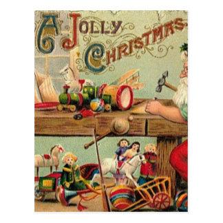 Carte Postale L'atelier vintage de Père Noël de Noël joue des