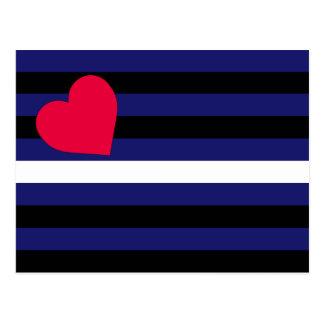 Carte Postale Latex en cuir et drapeau de fierté de BDSM