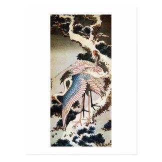 Carte Postale le 松に鶴, 北斎 tend le cou sur le pin, Hokusai,