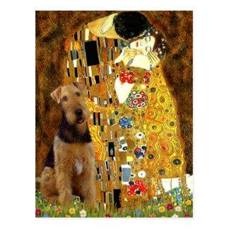 Carte Postale Le baiser - Airedale Terrier (#1)