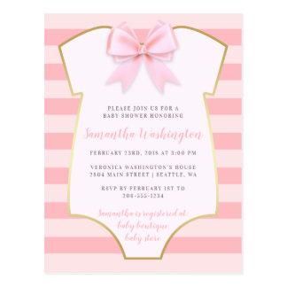 Carte Postale Le bébé mignon rougissent baby shower rose d'arc