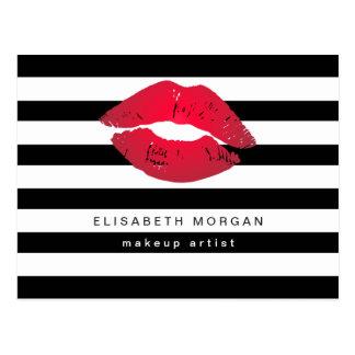 Carte Postale Le blanc rouge de noir de lèvres barre le