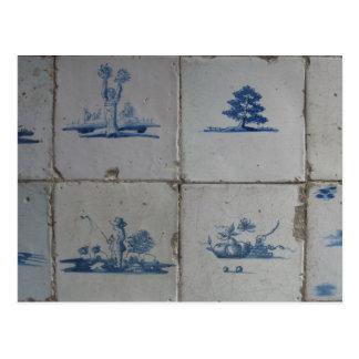 Carte Postale Le bleu de Delft de Néerlandais couvre de tuiles
