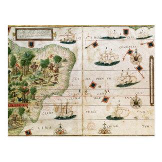 """Carte Postale Le Brésil du """"atlas de Miller"""" par Pedro Reinel"""