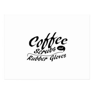 Carte Postale Le café frotte et l'infirmière drôle de gants en