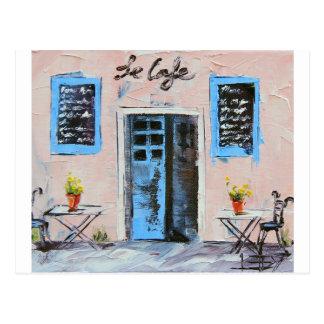 Carte Postale Le Cafe, peinture de couteau de palette en huile