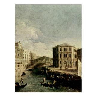 Carte Postale Le canal grand chez Rialto par Canaletto