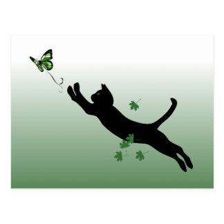 Carte Postale Le chat et le papillon