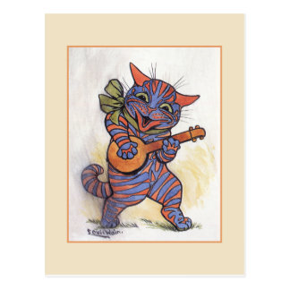 Carte Postale Le chat joue le banjo