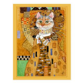 Carte Postale Le chat mignon d'or de Gustav Klimt charrient la