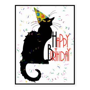 Carte Postale Le Chat Noir Joyeux Anniversaire