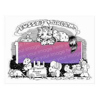 Carte Postale Le chat plaqué de pyjama rêve le cadre mobile de