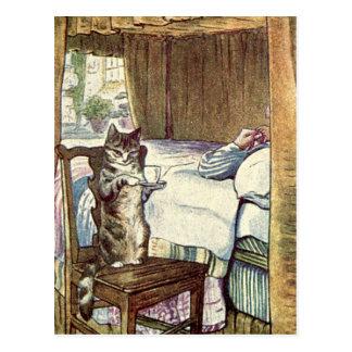 Carte Postale Le chat sert le petit déjeuner dans le lit