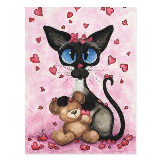 Carte Postale Le chat siamois Valentine soit le mien ours par