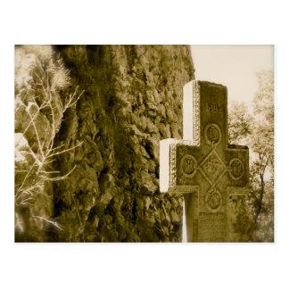 Carte Postale Le château de Dracula, son, pierre tombale