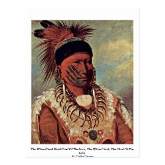 Carte Postale Le chef blanc de tête de nuage de l'Iowa
