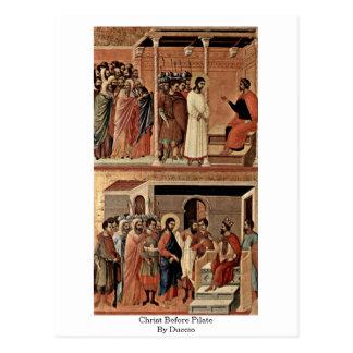 Carte Postale Le Christ avant Pilate par Duccio
