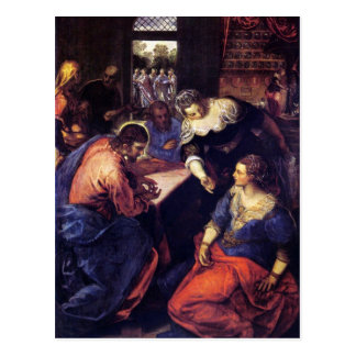 Carte Postale Le Christ avec Mary et Martha par Tintoretto