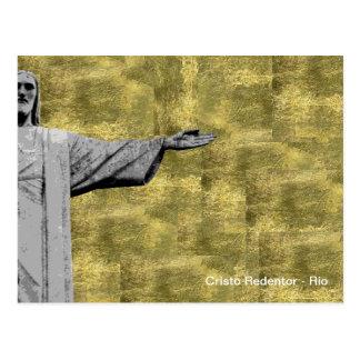 Carte Postale Le Christ d'or le rédempteur - Rio - Brésil