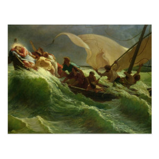 Carte Postale Le Christ endormi dans son bateau