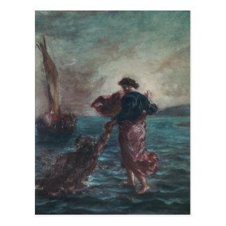 Carte Postale Le Christ marchant sur l'eau