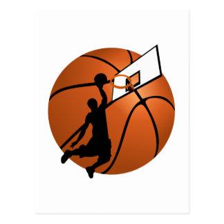 Carte Postale Le claquement trempent le joueur de basket w/Hoop