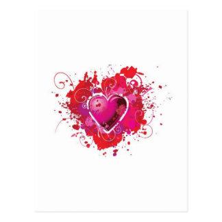 Carte Postale Le coeur grunge éclabousse