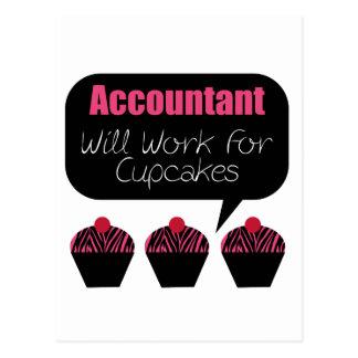 Carte Postale Le comptable, travaillera pour des petits gâteaux