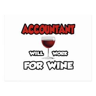 Carte Postale Le comptable… travaillera pour le vin