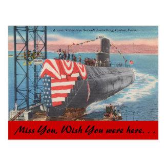 Carte Postale Le Connecticut, lancement submersible atomique