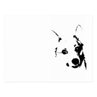 Carte Postale Le corgi poursuit le croquis noir et blanc d'encre