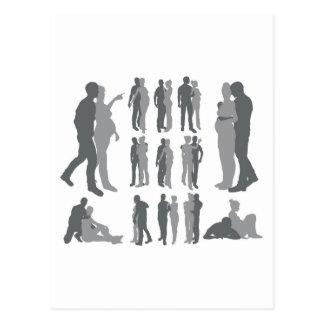 Carte Postale Le couple silhouette la femme enceinte