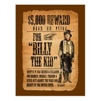 Carte Postale Le cru l'affiche a voulu/récompense pour Billy