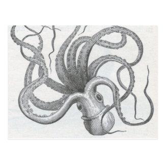 Carte Postale Le cru nautique de poulpe de steampunk kraken la