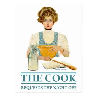 Carte Postale Le cuisinier demande la nuit