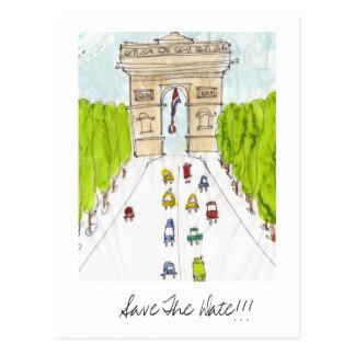 Carte Postale le de triomphe d'arc, font gagner la date ! ! !