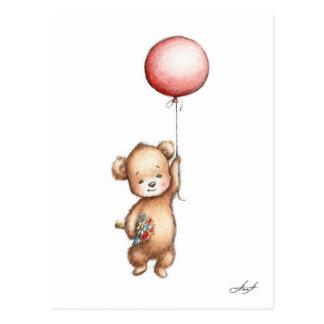 Carte Postale Le dessin de l'ours de nounours avec le ballon et