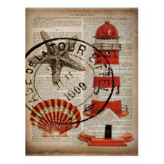 Carte Postale le dictionnaire imprime le phare côtier de