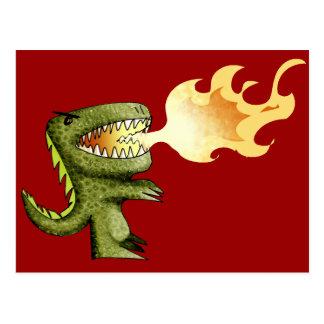 Carte Postale Le dinosaure ou le dragon badine l'art avec Loston