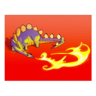 Carte Postale Le feu de respiration de Stegosaurus d'enfants par