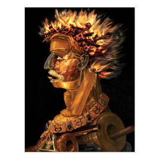 Carte Postale Le feu - le profil principal bizarre d'Arcimboldo
