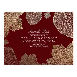 Carte Postale le feuille de Bourgogne et d'or tombe des