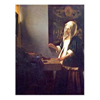 Carte Postale Le fourgon Delft, janv. de Vermeer meurent Perlenw